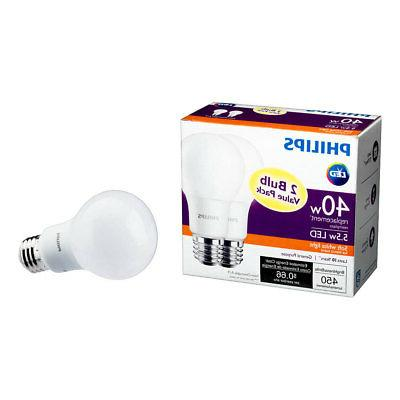 Philips 5.5 A19 40W 450 Soft Light Bulb, Pack