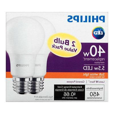 Philips 40W Soft LED Bulb, Pack