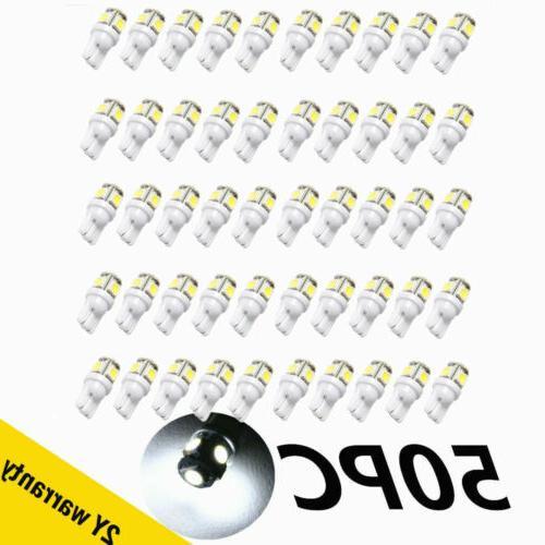 50pcs super white t10 wedge 5 smd