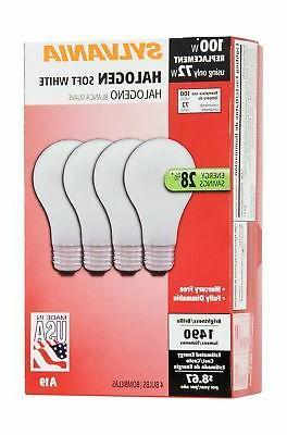 SYLVANIA Halogen Bulb, A19-72W-3000K, Soft