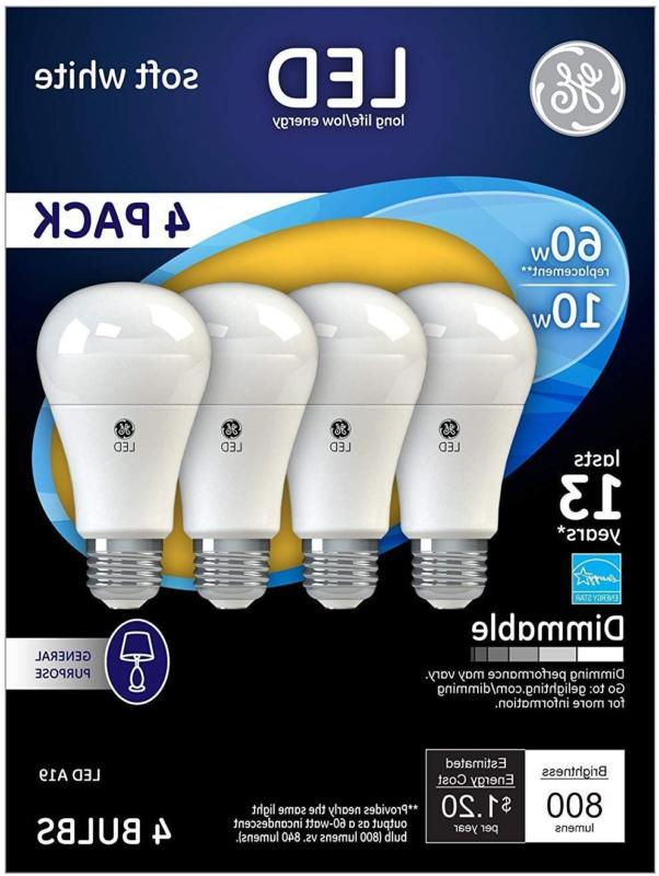 Ge Lighting 67615 Dimmable Led A19 Light Bulb With Medium Ba
