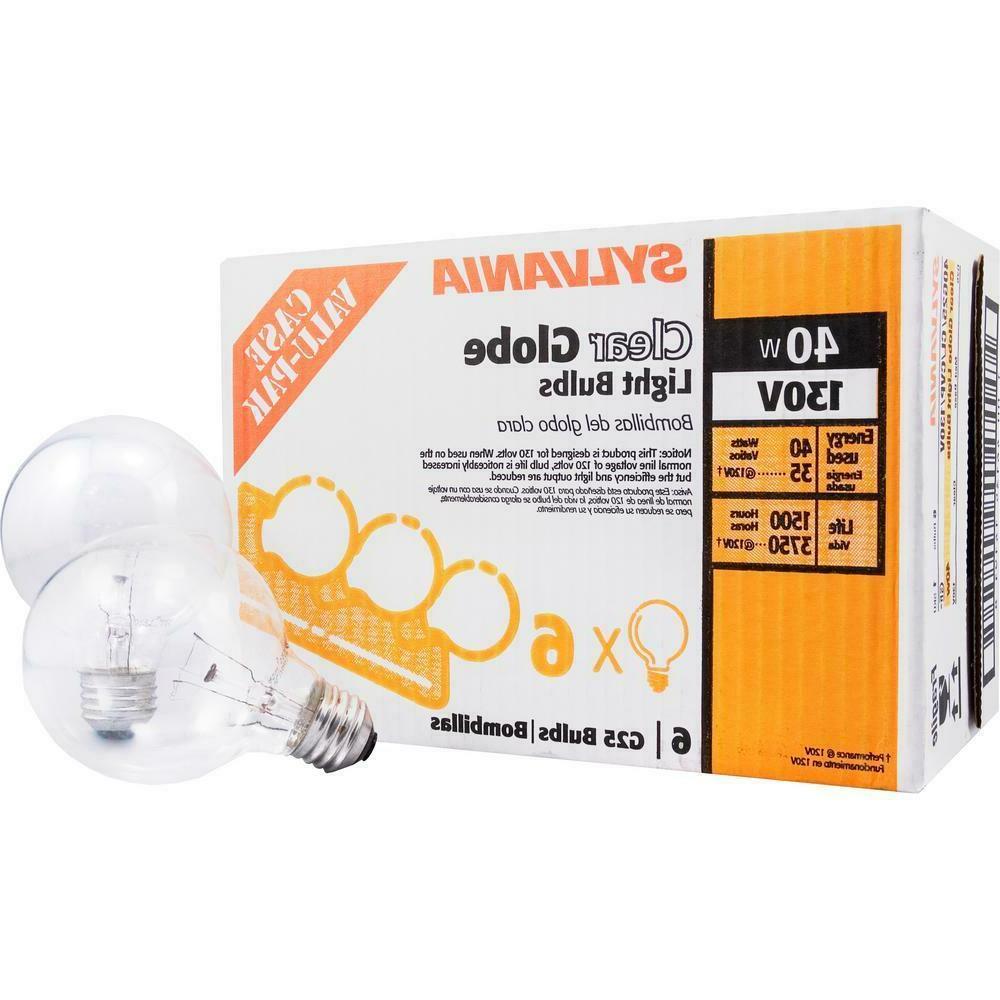6pk Sylvania Soft Clear Round Globe Light Bulbs Bathroom Van