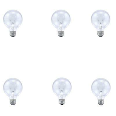 6pk Sylvania Soft Clear Round Globe Light Bulbs Bathroom Van