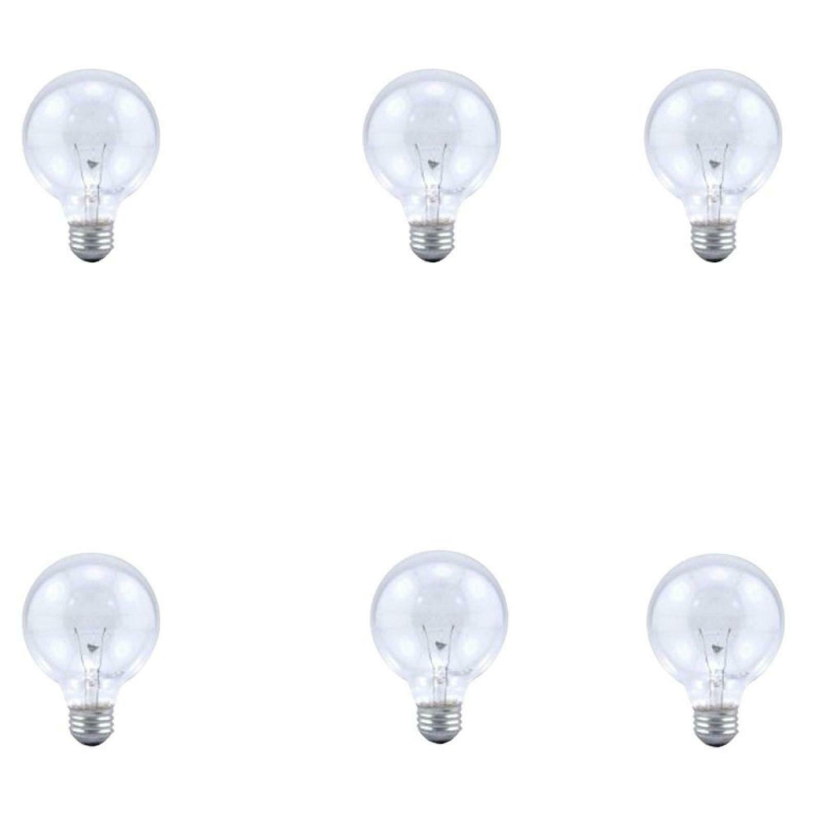 6pk soft clear round globe light bulbs