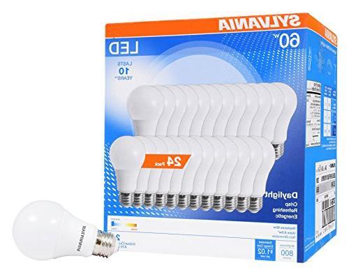Sylvania 60W Equivalent, LED Light Bulb, A19 Efficient White 5000K, 24 Pack, Piece
