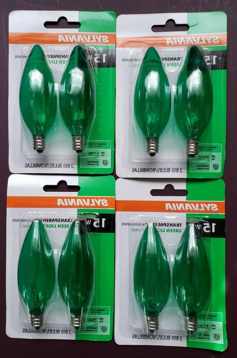 8 15w green transparent light bulbs b10