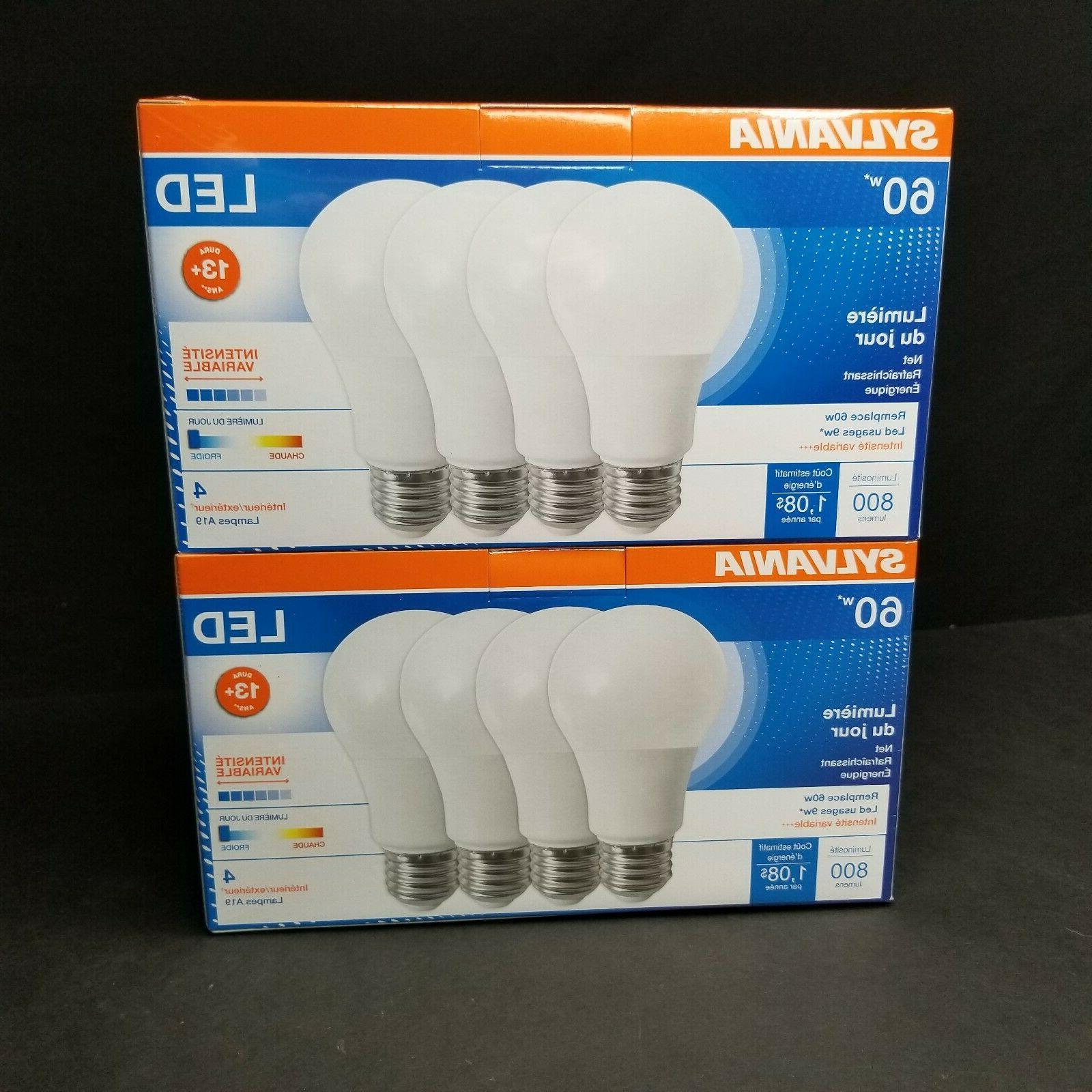 8 Sylvania 60w A19 Bulbs Daylight 800 Star New