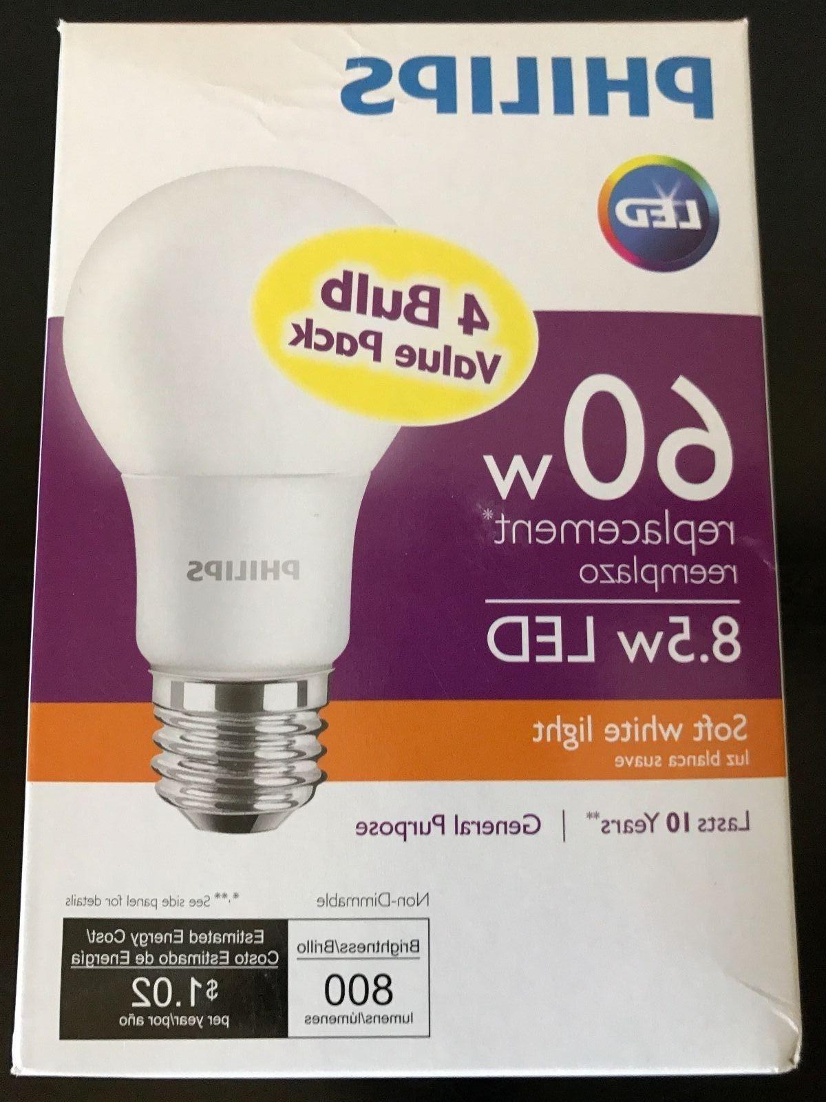 Philips 800 Lumen 8 5w A19 Led Light Bulb 60w Equivalent