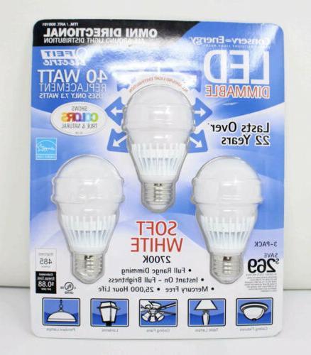 Feit 7.3 Watt A19 Dimmable LED Light Bulbs 3-Pack