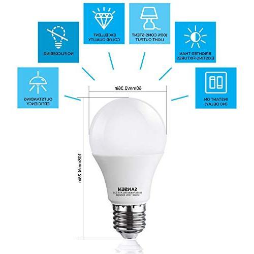 A19 LED Light 60 Watt SANSUN 3000K White, 6-Pack