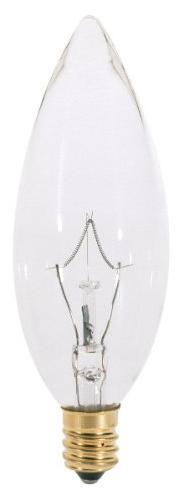 Satco A3683 130V Candelabra Base 40-Watt B9.5 Light Bulb, Cl