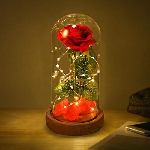 beauty beast red silk rose