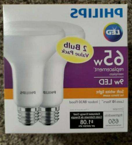 2-PACK - Philips 462143 65W Equivalent Soft White BR30 LED L
