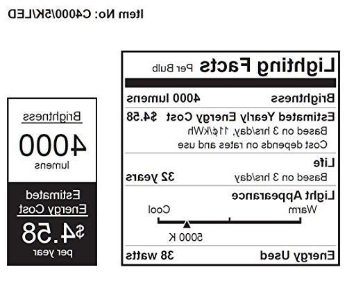 Feit C4000/5K/LED Bulb, Lumens, Temperature, Average Life of Years/35000