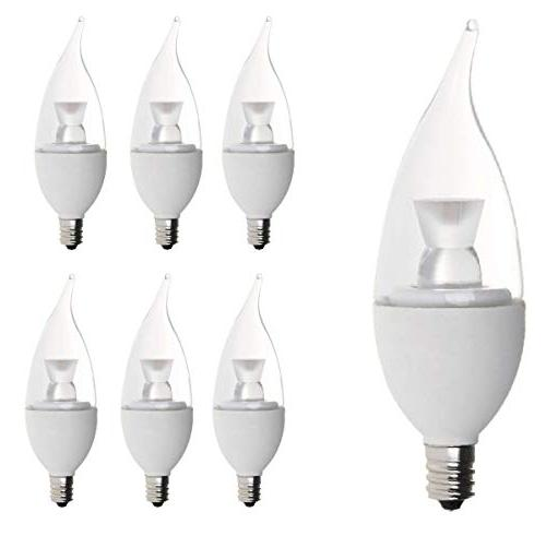 "Bioluz LED 6-pack Candelabra Dimmable LED E12 Base ""Flame Ti"