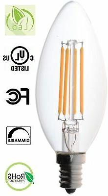 Bioluz LED Dimmable 60W Candelabra Bulbs, Filament Clear 60
