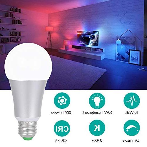 SUNNEST Dimmable Light Bulb Colors 10W RGBW Changing Light Bulb Remote Control, Memory&Timing, for Party and More