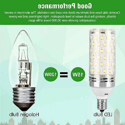 E12 LED Corn 15W Candelabra Ceiling Fan Light Bulbs 6000K