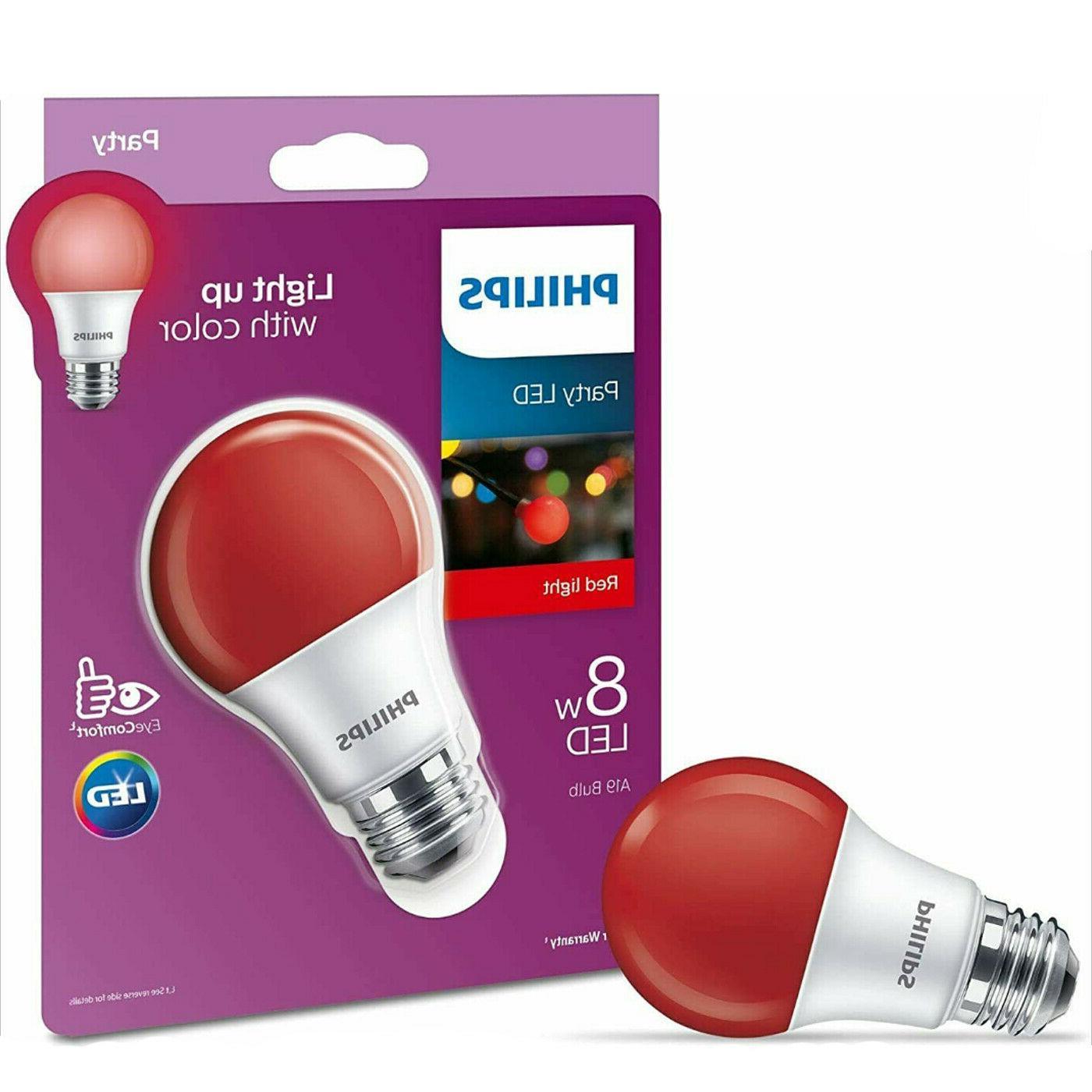 Philips 60 Watt Equivalent Red A19 Medium Base LED 8 Watt Equivalent Light Bulb