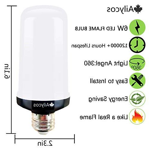 Ailycos LED Fire Light Bulb - Upgraded E26 4 Modes Effect Light Atmosphere Outdoor
