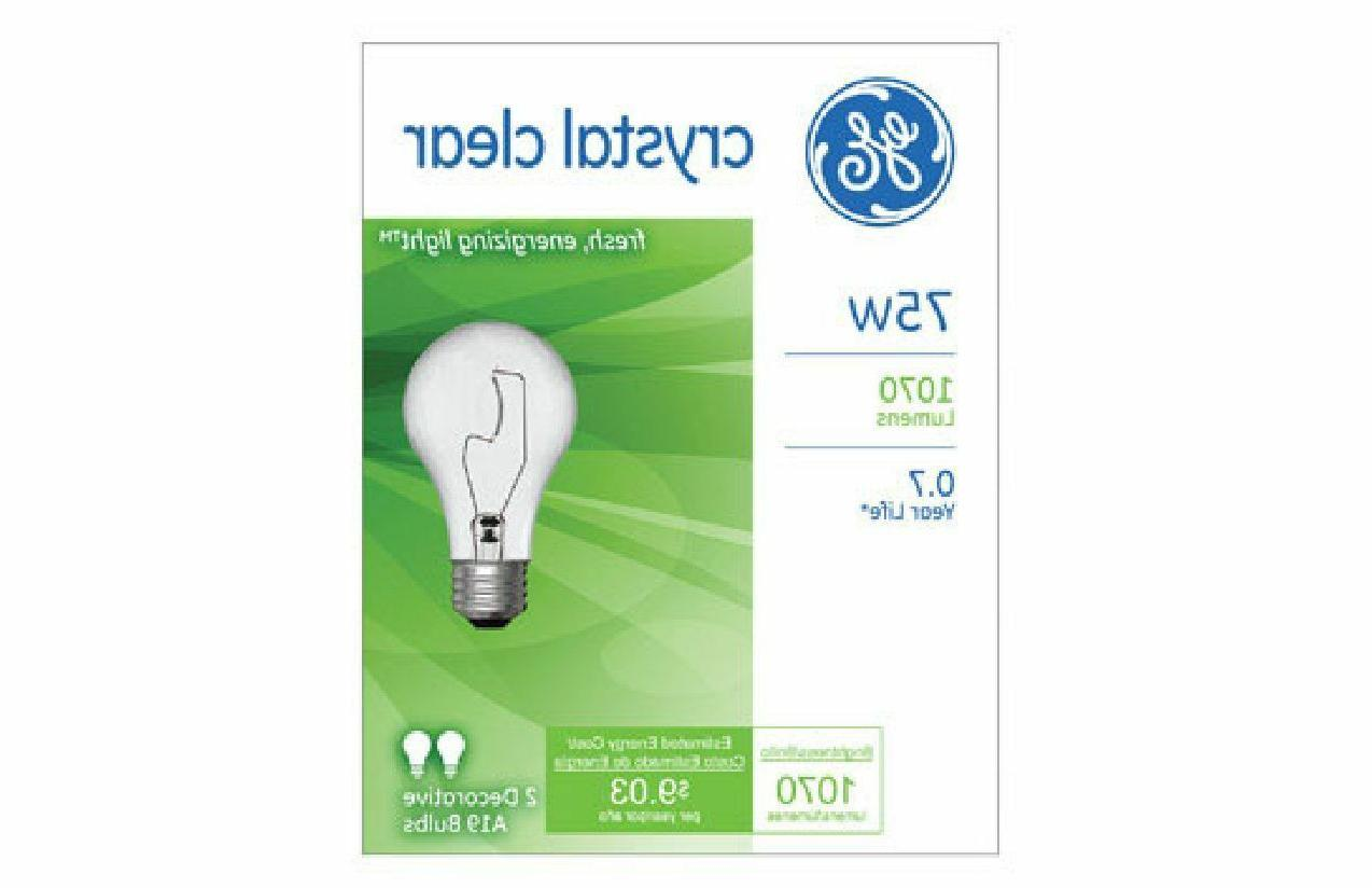 G E LIGHTING #10428 2PK 75W CLR STD Bulb