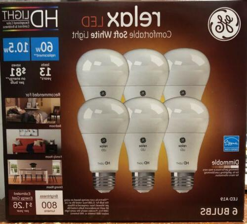GE 6-Pk Relax LED A19 10.5W Dimmable Comfortable Soft Bulbs