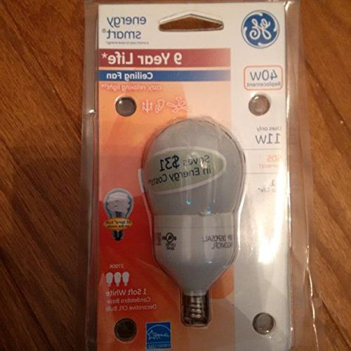 Ge Cfl Non Dimmable A17 Candelabra 11 W, 40 W Equiv 505 Lume