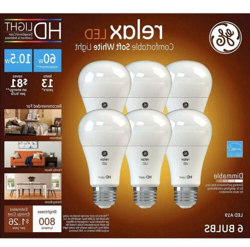 ge relax led 6pk equivalent 60w a19