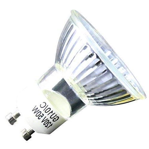 GU10 Halogen Light MR16 Bulbs 120V/50W, UV Dimmable, White, High Flood Light Bulbs Indoor