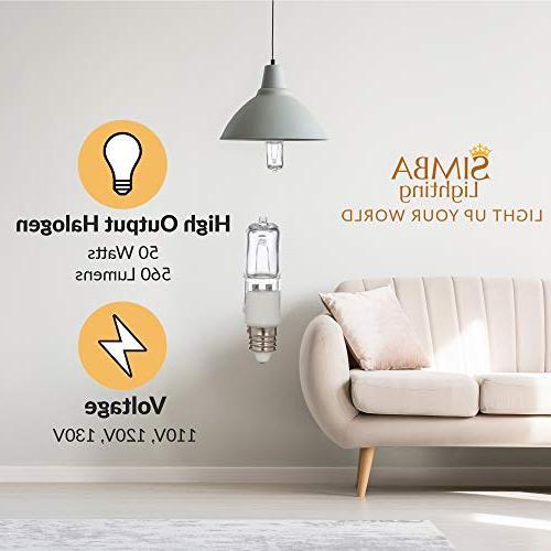 Halogen 560lm Light Bulb Pendants, Table Mini-Candelabra Base, JD 110V 120V 130V White 2700K