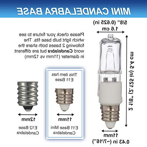 Lighting Halogen E11 T4 50 560lm 120 Volt Bulb for Table Mini-Candelabra Base, JD 110V White 2700K
