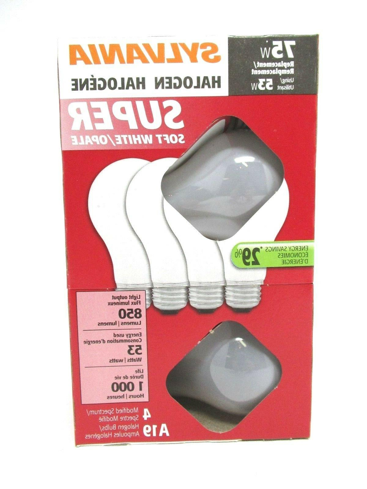 Sylvania Halogen Light Bulbs 75W Super Saver Soft White 4 Pa