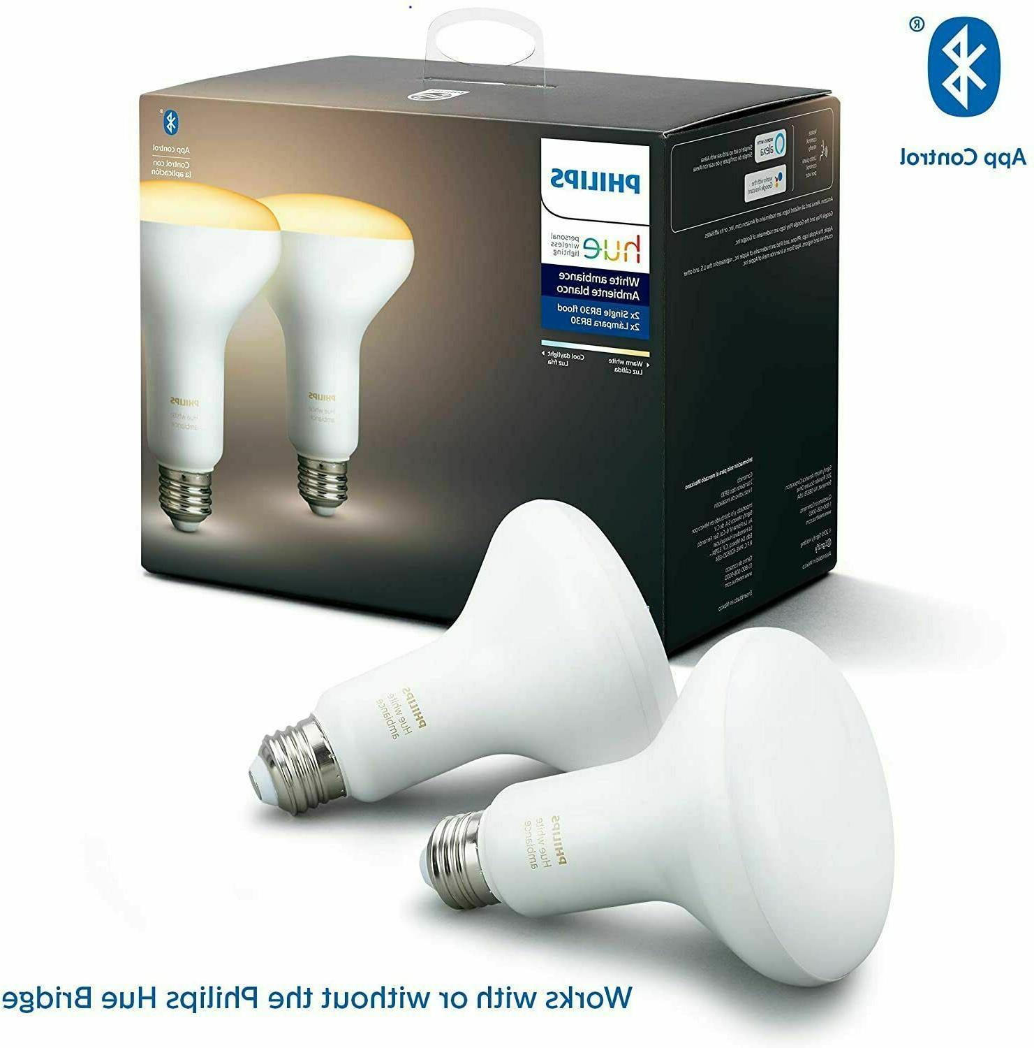 Philips Hue White 2-Pack BR30 LED Bulbs compatible