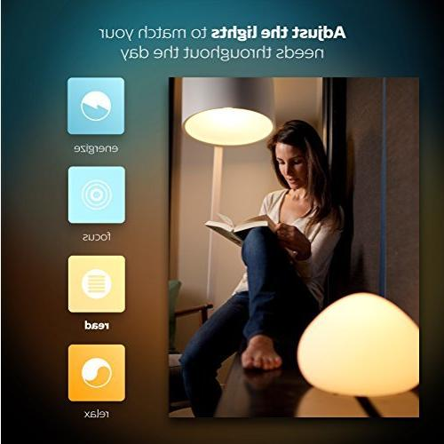 Philips Hue White 2-Pack Dimmable Smart Bulbs, Works with Homekit, Assistant,