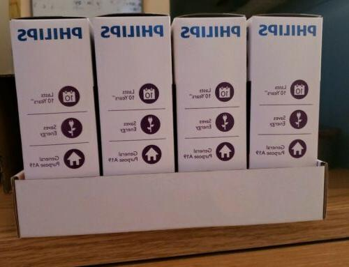 Philips 40W Light Bulbs 4 Pack Soft cases a box
