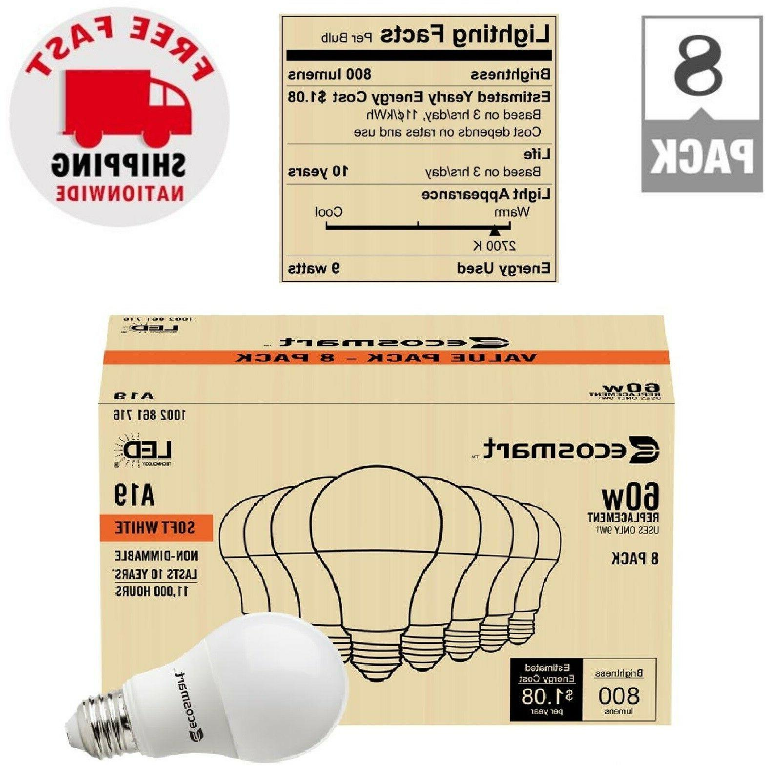 LED A19 Light Bulbs Soft White 60-Watt Equivalent Standard R