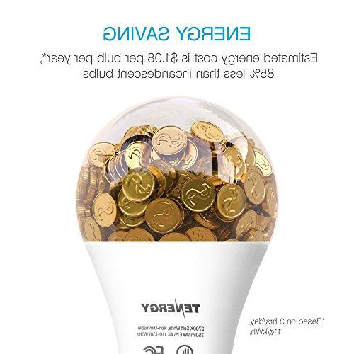 Tenergy Light Bulb, 9 watts E26 Standard 5000K Daylight White Energy Saving Bulbs Office/Home