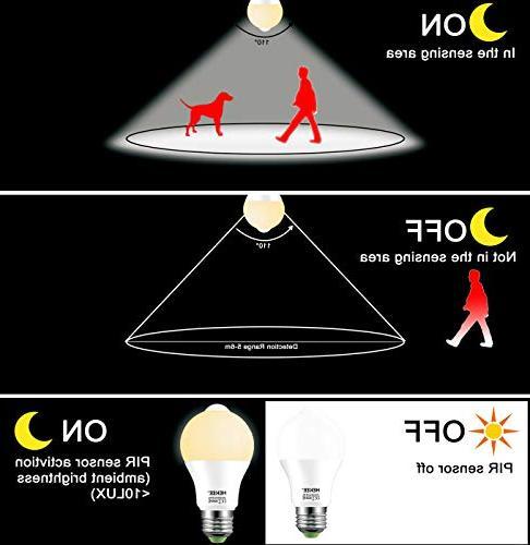 Motion Sensor 15W to Dawn LED Bulb A19 PIR Equivalent 1450 Lumens E26 Base Warm Bulbs