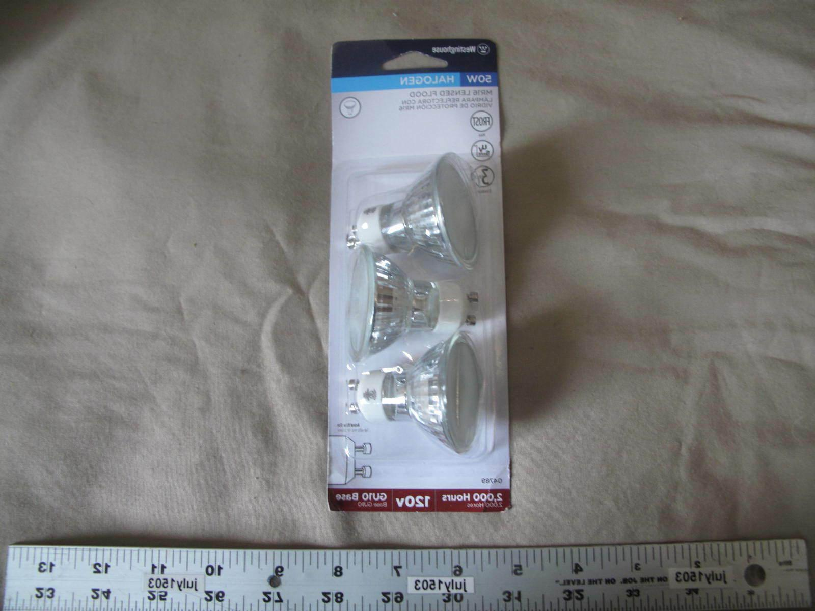 New Westinghouse 120v 50w MR16 Lensed Flood Halogen Bulb GU