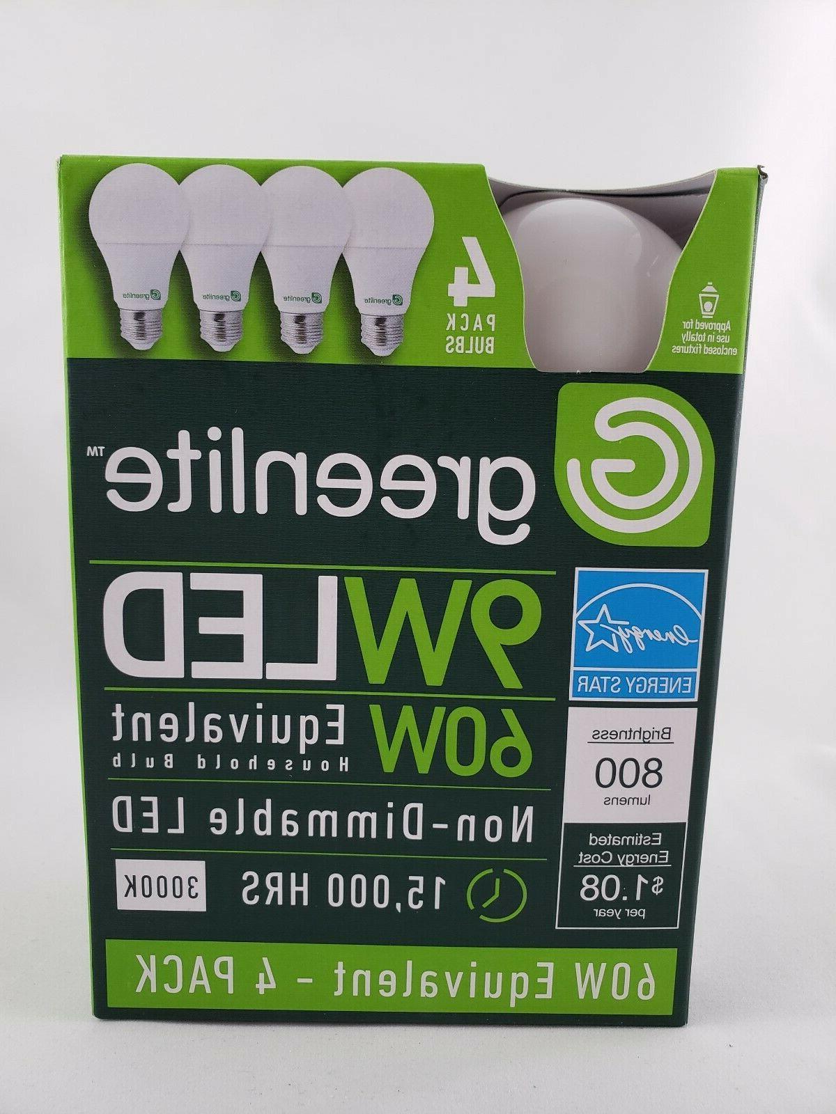 pack of 4 led bulbs 9w 60w