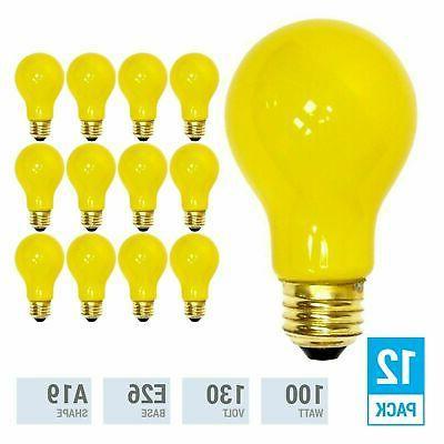 pack yellow bug light bulb 100w watt