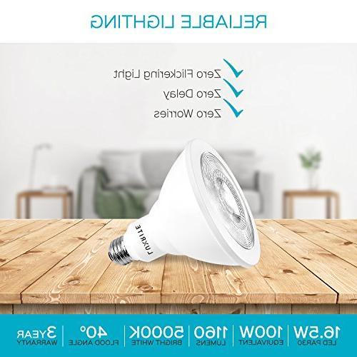 Luxrite LED Light 100W 5000K White 1160 Flood & UL Listed, Base, Damp -