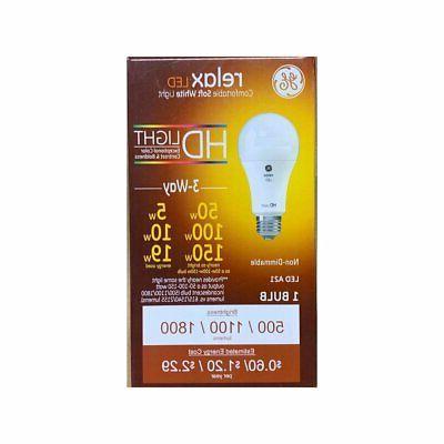 GE Relax LED HD 3 way Lightbulb, 50w/100w/150w