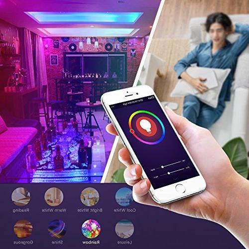 Smart WiFi Compatible with Amazon Alexa and Google Home Assistant, No Hub E26 2 Pack