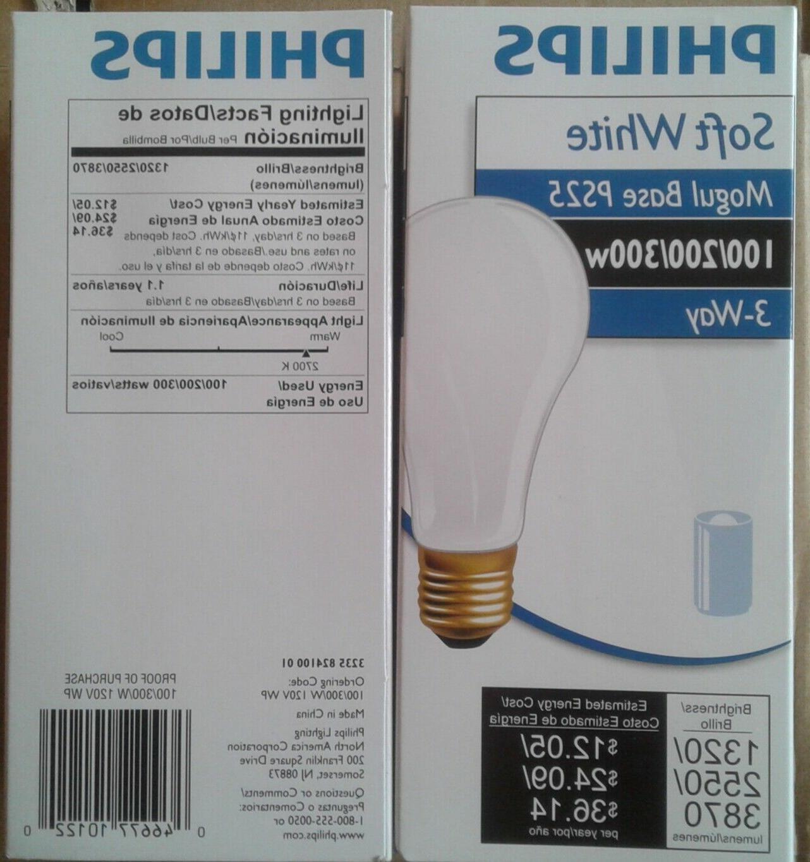 PHILIPS SOFT WHITE BASE 100/200/300 3-WAY LIGHT BULBS