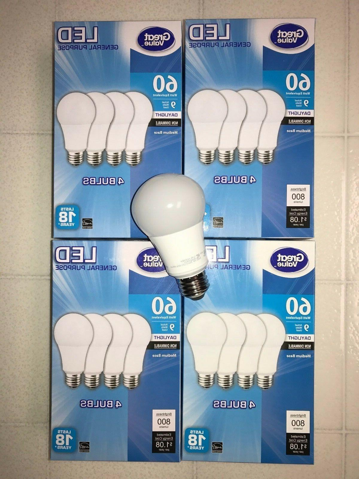 Sweet 16 Pack LED 60W = 9W Daylight 60 Watt Equivalent A19 5