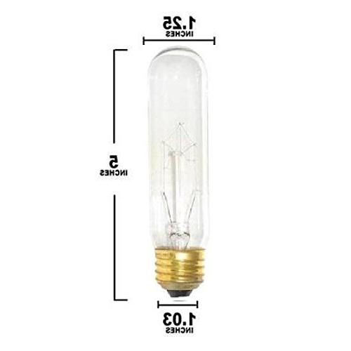 Pack Of 6 25 Watt T10 Clear Incandescent Medium Light Bulb