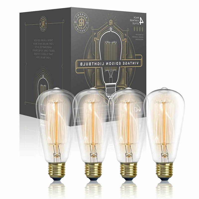 Vintage Edison Light Bulb 60W  - Dimmable Exposed Filament -