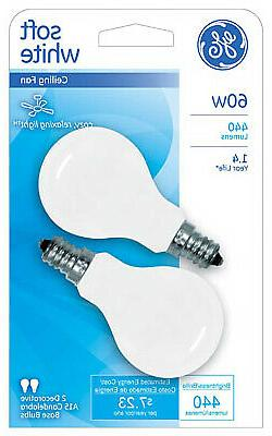 White Candelabra-Base Ceiling Fan Bulbs, 2-Pack, 60-Watt