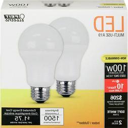 LED A19 - 14.5 Watts - 100W Equiv - 2 Pack - 1500 Lumens - F